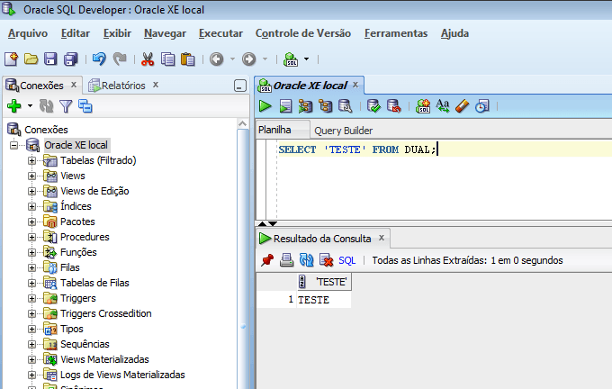 SQL Developer conectado ao Oracle XE