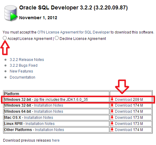 página de download do SQL Developer
