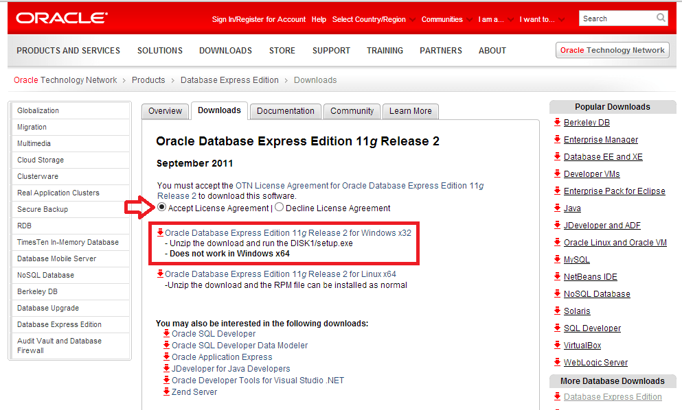 página de download do oracle xe