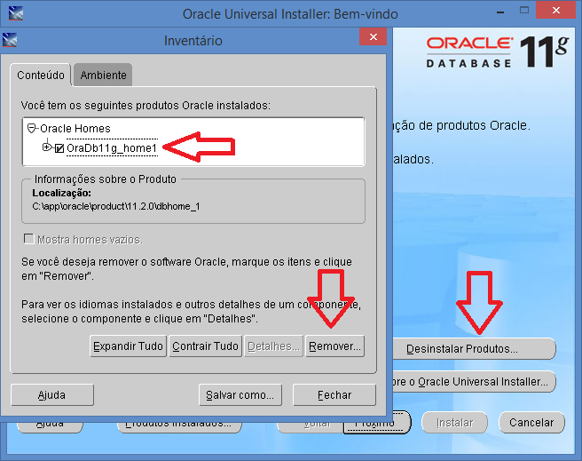 Desinstalar Oracle Universal Installer