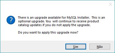 Atualização do instalador do MySQL