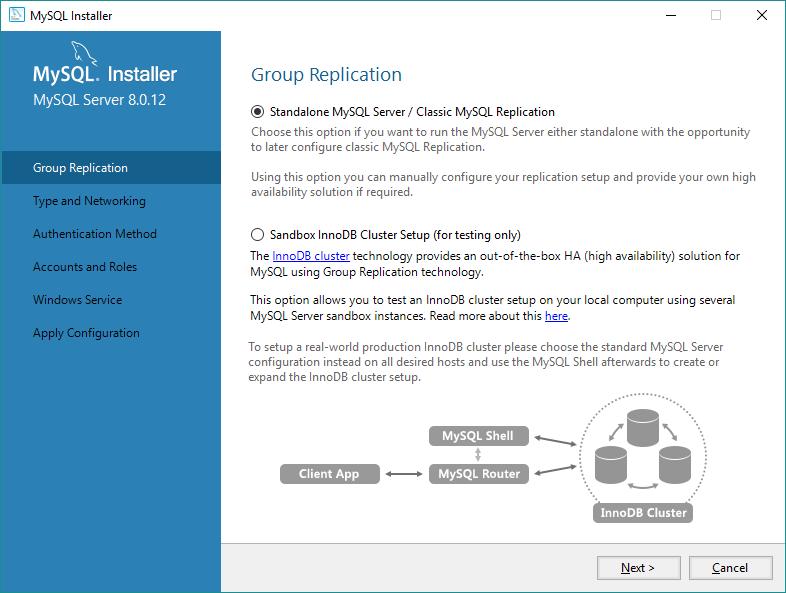 Forma de replicação do servidor MySQL - Standalone ou Cluster