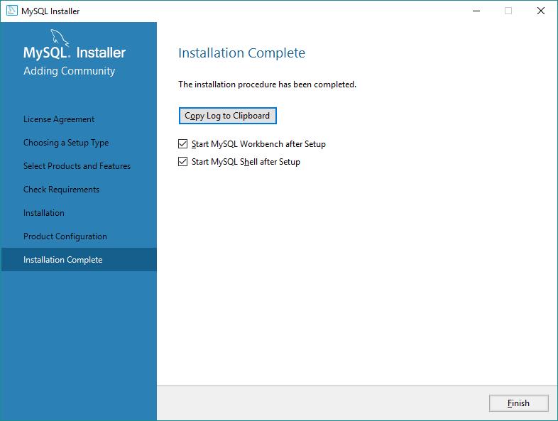 Instalação do MySQL completa